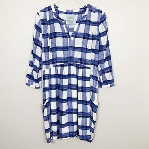 Anthropologie | Maeve Devery Shirtdress Blue Plaid